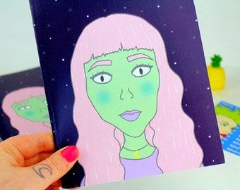 Alien Girl Notebooks | A5 Blank Notebooks | Stationery