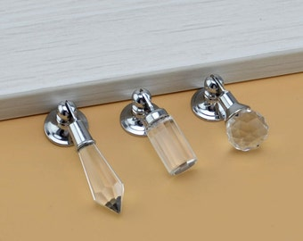 Glass Crystal Dresser Knobs Pulls Handles Drawer Knob Pulls Drop Sparkly Cabinet Knob Pull Furniture Cupboard Decorative Bling Silver Clear