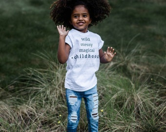 """Toddler & kids ash and white striped """"childhood"""" tee"""