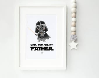 Star Wars Style 'Dad, You are my Father' Darth Vader print