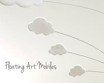 White Cloud Mobile Modern Mobile  Whimsy  White Mobile Kinetic Baby Mobile