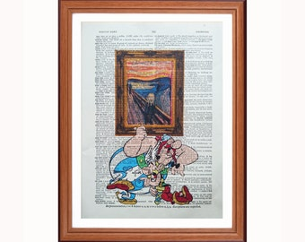 Asterix and Obelix vs Edvard Munch - The Scream - dictionary art print home decor present gift christmas