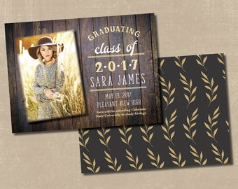 Rustic Boho Graduation Announcement
