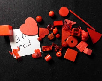 30 Small Red Objects Findings Animals Shapes Game Pieces Doo Dads for Assemblage Mixed Media Altered Art More