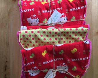 Hello Kitty Cotton and Chenille Burp Cloth Set of 2