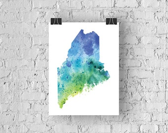Maine Watercolor Map - Giclée Print of Hand Painted Original Art - 5 Colors to Choose From