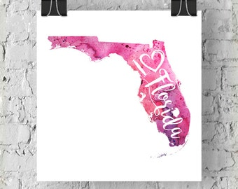 I Heart Florida Watercolor Map - Giclée Print of Original Art With Calligraphic Hand Lettering