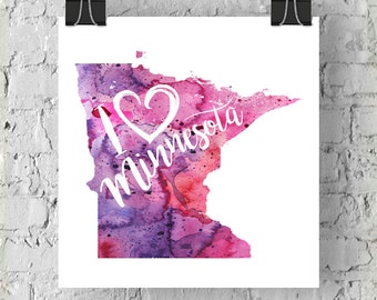 I Heart Minnesota Map Art Print, I Love Minnesota Watercolor Home Decor Map Painting, MN Giclee US State Art, Housewarming Gift, Moving Gift