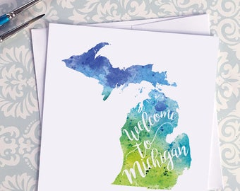 Michigan Watercolor Map Greeting Card, Welcome to Michigan Hand Lettered Text, Gift or Postcard, Giclée Print, Map Art, Choose from 5 Colors
