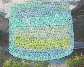 Hand crochet cotton dish cloth 8 by 8 CDC 016
