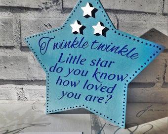 """Decorative """"Twinkle twinkle little star"""" wooden star"""