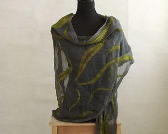 Grey and green scarf, big felt shawl,  triangular shawl, nuno felt scarf