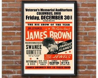 James Brown 1966 Concert Poster – Veterans Memorial Auditorium Columbus Ohio