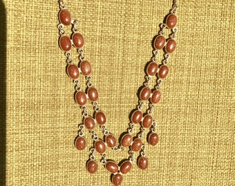 Gold Stone Necklace and Earrings Set