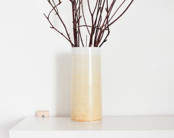 White & Yellow Ombré Ceramic Cylinder Vase by Barombi Studios