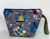 Dr Who 2 Skein Size STURDY Black Zip Project Bag with Olive Handle for Knitting / Craft Travel