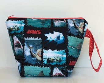 Jaws 2 Skein Size STURDY Red Zip Project Bag with Red & White Polka Dot Handle for Knitting / Craft Travel