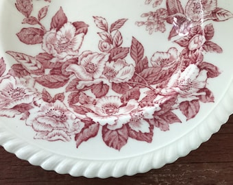"""JOHNSON BROTHERS - Windsor Ware - PINK Transferware - Apple Blossom Pattern - 8"""" Soup Bowls - England - Classic - English Country - Set of 3"""