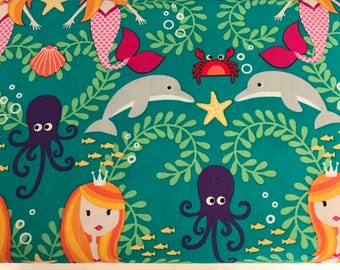 Siren Sisters in Lagoon, Mer-Mates Collection from Michael Miller Fabrics