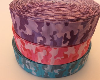 Camouflage grosgrain ribbons, camoflauge ribbons,camo ribbons, camo printed ribbons, 1 inch Grosgrain ribbons, perfect fir hairbows, scra