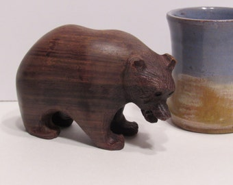 Ironwood Bear, Ironwood Grizzly Bear, wood bear, wood grizzly, vintage wood bear