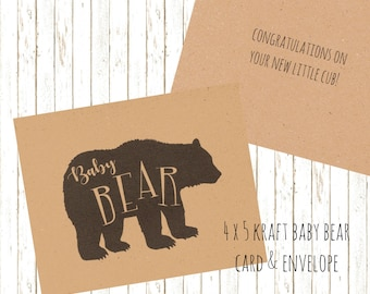 Baby Bear Card, Baby Shower Card, New Baby Card, Kraft Paper Card, New Cub, Card for New Baby