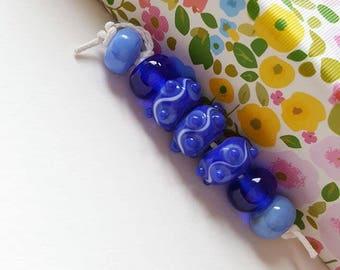 Blue Dotty Swirl Lampwork Bead Set - Handmade Bead Set - Lampwork Glass Beads - Blue Doughnut Beads - Polka Dot Beads - UK Artisan Handmade