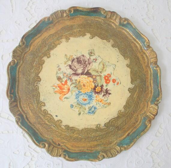 Vintage Italian Florentine Round Wooden Serving Tray, Flower Decor