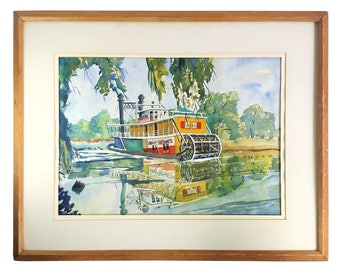 Amy Hewes Steam Boat on the Teche Louisiana Bianchi Original Watercolor Painting