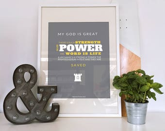 Christian Wall Art, Christian Gifts, Christian Prints, Christian Art, Framed Print, Proverbs 18:10, My God is Great