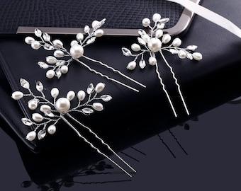 Pearl Hair Comb, Pearl Hair Clip, Pearl Hair Pins, Wedding Hair Pins, Crystal Hair Pins, Wedding Hair Picks, Bridal Pins, Crystal Pins