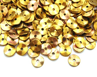100pc, 10mm, Antique Gold Wavy Disc metal spacer beads, bohemian style spacers, ancient rustic #SPCR-001
