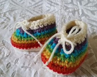 Rainbow booties - 0 to 3 months