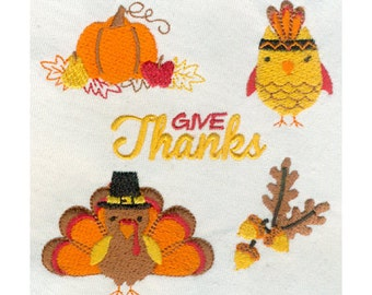 5 Thanksgiving Mini Designs Embroidery Designs - Pumpkin & leaves, Owl, Turkey, Acorn, Give Thanks - Instant Digital Download