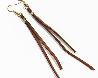 Boho Long Leather Earrings