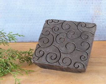 Vintage Antique Indian Hand Carved Textile Stamps wood printing block