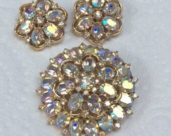 Trifari demi - brooch and earrings - jonquil ab -