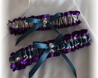 Purple Silver and Teal Wedding Bridal Garter Set
