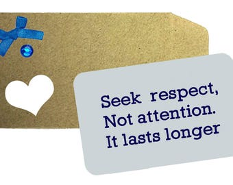 Seek Respect, Not attention it lasts longer Aluminium Wallet Note card - Inspirational quote, Love Note, Wallet Note, Gift, Wallet Card,