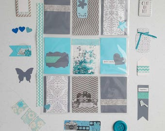 Free shipping. Blue and gray pocket letter inspiration kit. Everything included. Pocket letter.