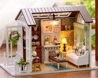 DIY Dollhouse Miniature living room LED Lights Assembly with Tool Set Self Assemble Christmas Girlfriend Gift