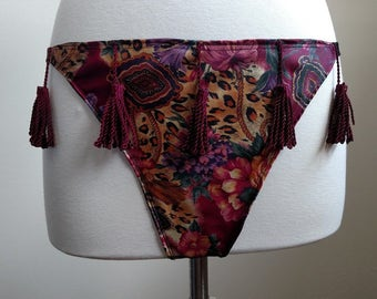 Printed Satin Thong with Tassels