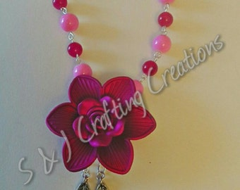 Pink Agate Beaded floral Necklace