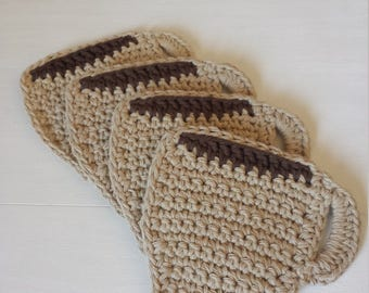 Crochet Coasters / 100% Cotton / Crochet Gifts / Cotton Gifts / Eco friendly gifts - Set of 4