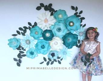 Paper flowers for home or wedding décor. Baby girl nursery room wall accent, event backdrop, photo props