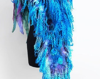 Turquoise Aquamarine Veronica Blue Merino wool nuno felted wrap scarf. One of a kind. Warm beautiful Wool silk stole. Gift for her