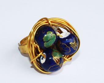 Bird nest Ring - blue ceramics