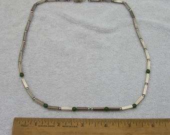Vintage SOUTHWESTERN? Sterling & Green Glass BEAD NECKLACE