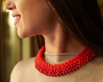 Red Braided  Necklace Сotton Necklace Eco-friendly necklace Bib Necklace Statement Necklace Gift For Her Going out necklace Bead necklace