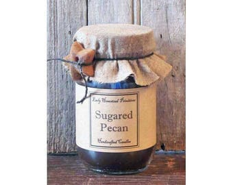 Primitive Candle, Country Candle, Rustic Candle, Sugared Pecan Scented Jar Candle